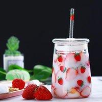 Wine Glasses Large Capacity Transparent Cute Strawberry Straw Coffee Mug With Lid Simple Modern Heat Resistant Glass Milk Mugs Juice Tea Cup