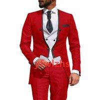 Custom-made Double-Breasted Groomsmen Collarless Groom Tuxedos Men Suits Wedding Prom Dinner Man Blazer(Jacket+Pants+Tie+Vest) W978