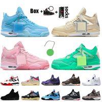 OFF White Jordan 4 Nike Air Jordan 4 4s Retro Jumpman Travis Scott Stock x 상 자 를 휴대 하 다. 남녀 농구 화 운동화