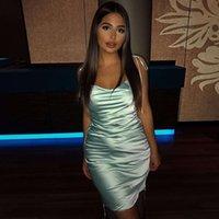 Colysmo vestido de verão sexy mulheres spaghetti cintas bodycon vestido slim trecho multi desgaste ruched clube vestido vestidos novo 210303