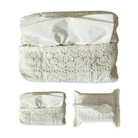 Sacs de rangement Boîte de tissu en dentelle brodée Couvre-boîtes Papier de voiture Pompage Pompage Vintage Style Chambre Table De Décoration