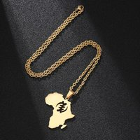 Pendant Necklaces African Hollow Smbol Map Stainless Titanium Steel Fashion Fresh Necklace Women Men Gift