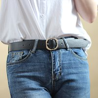 Fashion Gold Round Buckle Belts Female Leather Wide Strap For Leisure Drs Jeans Decoration Women's Belt Cinto Feminino