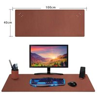 Mouse Pads & Wrist Rests Double Side PU Leather Desk Laptop Mat With Penholder And Phone Stands, Large Multifunctional Pad - Brown 100 X 40C