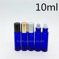 100pcs / lote 10 ml de rollo azul en la botella de perfume, botellas de rollo de aceite esencial azul de 10 ml, contenedor de roller de vidrio pequeño