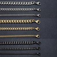 VNOX Hommes Simple 3-11mm En acier inoxydable Cuban Chaîne Chaîne Colliers pour bijoux masculins Gold Solid Or Black Ton Cadeaux Miami Curb