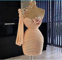Yong Girls Formal Cocktail Party Dress For Birthday Short Prom Dresses With High Neck Flowers Beads Pick Ups One Shoulder Evening Gowns Birthday photo Shoot Gowns