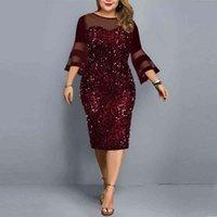 Plus size Dresses Vestido de festa com lantejoulas e lantejoulas, plus size, feminino, casual, para clube, roupas noite, 4xl, 5xl, PSOH