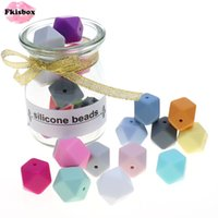 Fkisbox Bpa Free 14mm 100pc Silicone Hexagon Bead Chewable Baby Teether Teething Necklace Pacifier Chain DIY Babies Shower Gift 210311