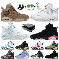 Travis Scott x Nike Air Jordan 6 Retro 6 6s British Khaki 2021 Jumpman Erkek Basketbol Ayakkabıları Carmine Tech Krom Siyah Kızılötesi Hare DMP Gatorade Spor Ayakkabıları