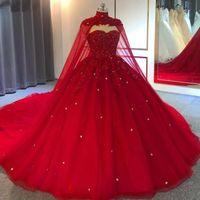 Dubai Muçulmano Vestidos de Noiva Vermelho 2021 Cristais Beading Plus Size Vestidos Noiva com Cape Lindo Brides Vestidos de Casamento Feito Personalizado