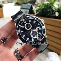 Novo mergulhador marinho de 45mm 263-10-3 / 92 Bllack Texture Dial Reserva automática Mens relógio BLLack Strap de borracha relógios