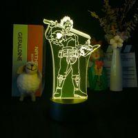 LED Kreş Uyku Gece Işık 3D Siyah Yonca Yami Sukehiro Nightlight Anime Bluetooth Baz Oda Dekor Lamba Çocuklar Tatil Hediye