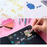 8 Renkler / Kutu Fosforlu Kalem Seti Glitter Renk Değiştirme Flaş Işaretleyici Kalemler Çizim Karalama Kavramı Albümü DIY Sanat Kırtasiye Qylbia