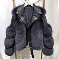 Mulheres Faux Fur Casaco com Fox Fur Inverno moda moda estilo luxo raposa raposa jaquetas de couro mulher mulher moderna 210902