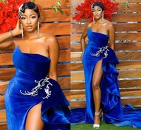 Sexy High Slit 2022 Royal Blue Velvet Prom Evening Dresses South African Plus size Ruched Strapless Long Bridesmaid Party Cocktail Pageant Dresess