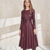 Повседневные платья Dabourfeel мода пояс из искусственной кожи женские с длинным рукавом Slim Fit PU платье сексуальный клуб носить прибытие 2021 осенью зима