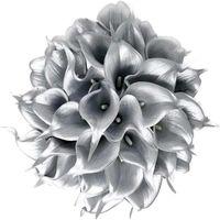 Flores decorativas grinaldas 24 pcs flor artificial pu mini lírio de calla para casamento Buquês de noiva falsificados decore home decore