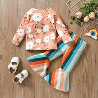 Clothing Sets 2Pcs Baby Autumn Outfits, Floral Long Sleeves T-Shirt + Rainbow Stripe Bell-Bottom Pants For Little Girls, 1-5 Years 2021