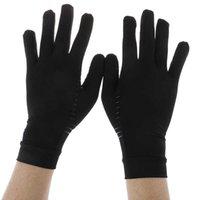 1 par de mulheres homens cobre fibra terapia luvas de compressão de mão artrite articular alívio da dor meia luvas de terapia dedo y0910