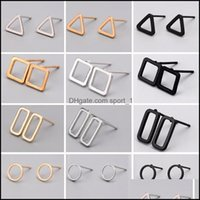 Jewelry Fashion 3 Colors Punk Simple Geometry Earrings Minimalist Recs Triangle & Round Ear Stud Lovely Gift Alloy Drop Delivery 2021 Ixf0B