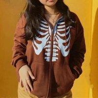 Damen Hoodies Sweatshirts Y2k Vintage Reißverschluss nach oben Sweatshirt Harajuku Streetwear Gothic E-Girl Herbst Winter Schädelmantel Jacke Frauen LO