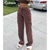 Rockmore Braune Vintage Baggy Jeans Frauen 90er Jahre Streetwear Taschen Wide Bein Fracht Hosen Y2k Niedrige Taille Gerade Denim Hose 2021 Y0607