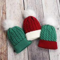 Lovely Baby Christmas PomPom Beanies Kids Warm Skull Caps Twist Knit Bobble Hats Festival Solid Pom-Pom Beanie For 0-3 Years Old