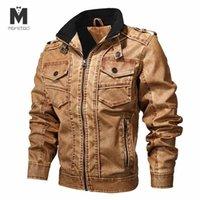 Men's Jackets 2021 Jacket Denim Color Winter Mens Coats Fur Inside Men Motorcycle High Quality Thick Warm PU Leather Outwear