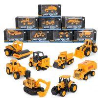 LX Diecast modelo de carro brinquedos, 8 veículos de engenharia de liga caminhão, escavadeira, empilhadeira, pá de trator, rolo de estrada, ornamento garoto presente de aniversário