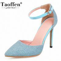TAOFFEN Women Sandals Bling Summer Ankle Buckle Shoes Women Super High Heel Pointed Toe Party Footwear Size 34 43 Skechers Sandals_bar