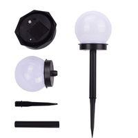 Zimny Biały 2x Lampy Słoneczne Wykrywanie Ball Intelligent Light Control Outdoor Waterproof Lawn Lights Pojedynczy Koralik 2 V 40mAh Oświetlenie Patio Chodnik