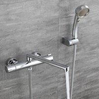 Banheira termostática Tuqiu e torneira de chuveiro Torneira de banheira cromada, banheiro frio e hot banho mixer de banho