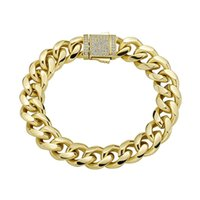 10mm Hip Hop Chain Claw Setting Cubic Zirconia Bling Iced Out Round Cuban Link Chain Bracelets Bangle for Men Rapper Jewelry