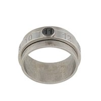 Rotatable Digital Engraving 925 Sterling Silver Old Ring Double Layer Overlapping Logo Decompression All-Match Trend Jewelry