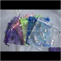 Hotsell Gümüş Kelebek Organze Çanta Düğün Hediye Çantası Noel Takı Ambalaj Çantası 100 adet Karışık Renkler Nakliye YW0ly Ancsl