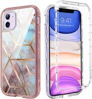 Para iPhone 12 Funda Mármol de lujo Casos de teléfono celular 3in1 Funda de protección de cuerpo a prueba de choques de alta resistencia compatible con Samsung S21 Ultra