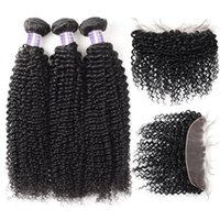 Allove Brazilian Hair Body Deep Peruvian Water Wave 3pcs with Lace Frontal Closure Wet and Wavy Loose Curly Human Hair Bundles with Closure