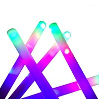 Party Decoration Glow Sticks Bulk - 24 Pcs LED Foam Batons With 3 Modes Flashing Effect, In The Dark Supplies1