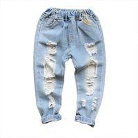 Kinder Jeans Denim Kinder Hosen Hosen Loch Mädchen Jeans Baby Kleidung Jungen Jeans Hosen Frühling Sommer Kinder Kleidung 2-7Y B4222