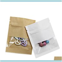 Packing Office School Business & Industrial300Pcs Lot Kraft Paper Ziplock Package Bag Woth Clear Window Party Mini Crafts Storage Pouches Re