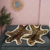 Carpets Fur Faux Artificial Sheepskin Carpet Washable Seat Pad Fluffy Rugs Living Room Bedroom Cowhide Rug Tiger Leopard