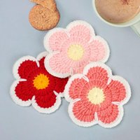 Mats & Pads Cherry Blossom Knitted Handmade Thickened Anti-scalding Heat Insulation Table Mat Coffee Cup Homestay Decoration