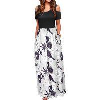 Casual Dresses Women's Long Dress With Striped Floral Print Short Sleeve Maxi Plus Size Women Clothing Jurken Zomer 2021 Dames