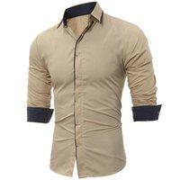 Homme's robe Shirts Marque 2021 Mode Chemise masculine Homme à manches longues Tops Classic Dark Chattone Hit Couleur Couleur Hommes Slim Slim Hommes