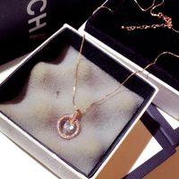 Chains Arrive Temperament Circle CZ Necklace Gold Silver Color Shine Zircon Delicate Clavicle Choker Wedding Engagement Bijoux