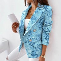 Women's Suits & Blazers Elegant Solid Blazer Coats 2021 Fashion Autumn Winter Office Lady Long Sleeve Jackets For Women Turn-Down Collar Out