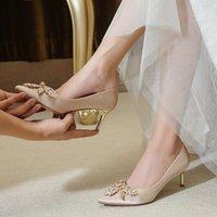 Chaussures de mariage 2021 nouvelles chaussures de mariée d'hiver Champagne demoiselles d'honneur à talons hauts ne portent pas le cristal de mariage principal
