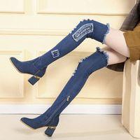 Rimocy Vintage Rompe Denim Tigh Tigh High Boots Mujeres Otoño Tacones de invierno sobre las botas de la rodilla Mujer Sexy Point Toe Long Botas Zapatos W8Wh #