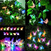 Solar Lamps 12 20 Led Powered Butterfly Fiber Optic Fairy String Waterproof Lights Christmas Outdoor Garden Holiday Decoration